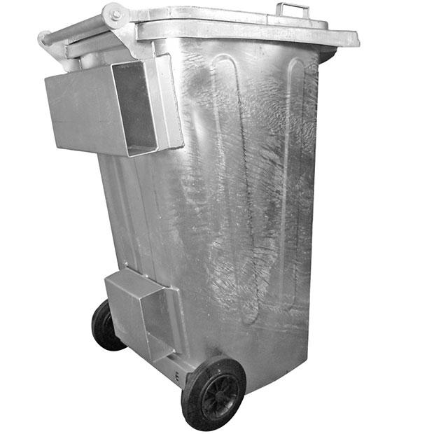 Müllcontainer aus Stahl mit Staplertaschen