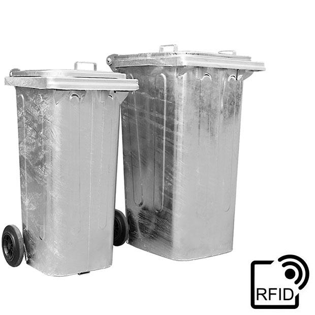 Müllcontainer aus Stahl mit Transponderchip